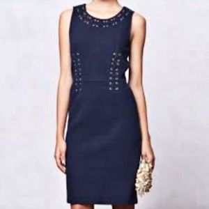 Leifnotes Anthropologie Bodleian navy midi dress